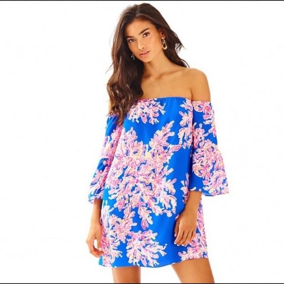 Lilly Pulitzer Sanilla Silk Dress Brillant Blue